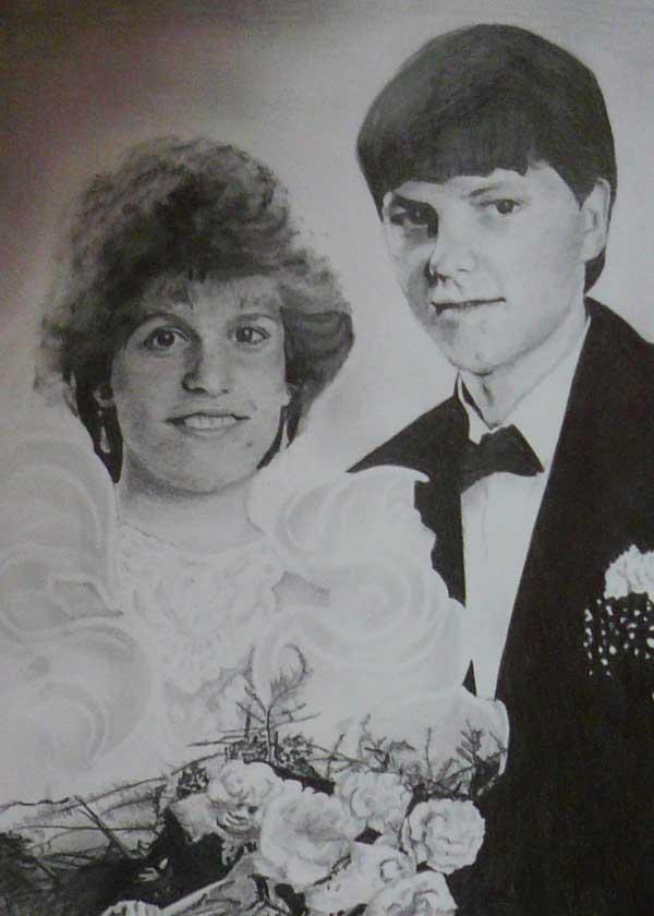 kresba novomanželů