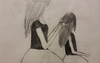 kresba dívek, které se česají