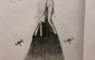 dívka v šatech kresba