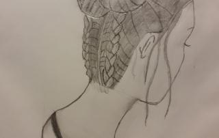 kresba účes