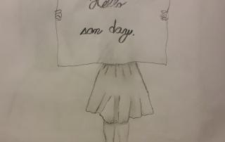 kresba dívky s transparentem