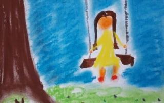 dítě na houpačce