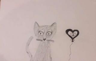 kresba kočky a srdce